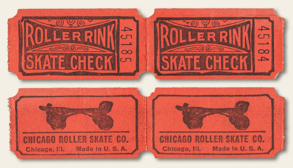 Vintage Tickets Admit One Roller Rink Chicago Roller Skate company