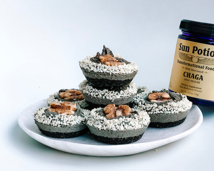 BLACK SESAME CHAGA-INFUSED BABY CHEESECAKES