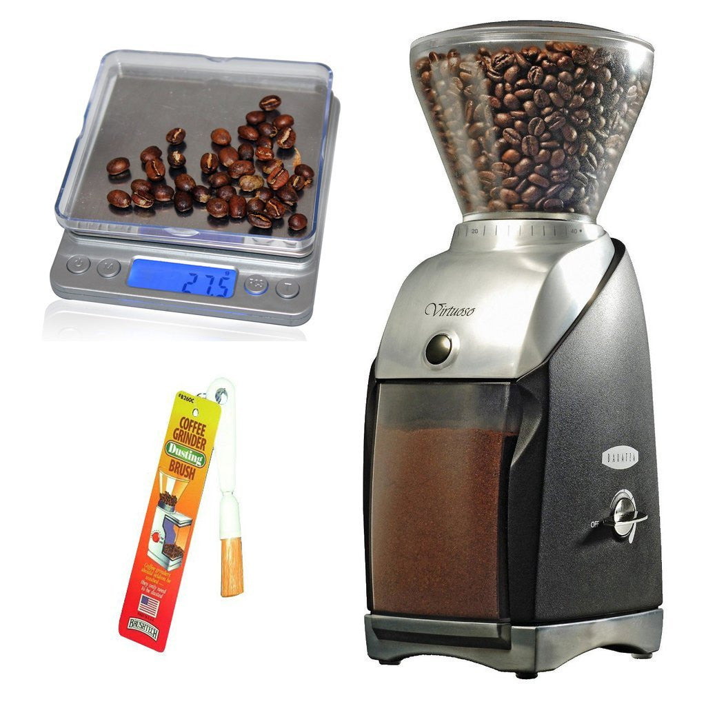 Baratza Virtuoso Conical Burr Grinder + Coastline Digital Pocket Scale + Brushtech Grinder Brush - Batch Coffee - Same Day Shipping!