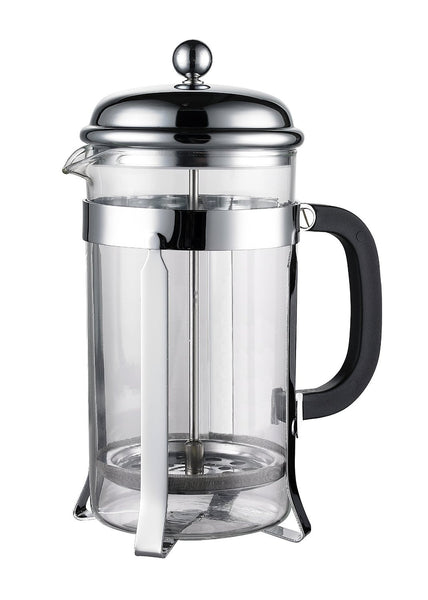 Coastline French Press & Espresso Maker | Makes 8 Cups (4 Mugs) | Coffee Press Heat-resistant Borosilicate Glass with Double Screen System Filters Coffee Thoroughly - No Grounds | Stainless Steel - Batch Coffee - Same Day Shipping!