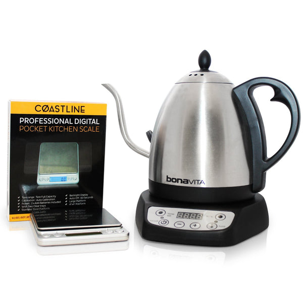Bonavita 1.0L Variable Gooseneck Electric Kettle and Coastline Professional Digital Pocket Scale Bundle - Batch Coffee - Same Day Shipping!