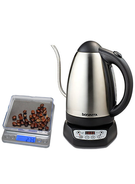 Bonavita 1.7L Variable Gooseneck Electric Kettle and Coastline Professional Digital Pocket Scale Bundle - Batch Coffee - Same Day Shipping!