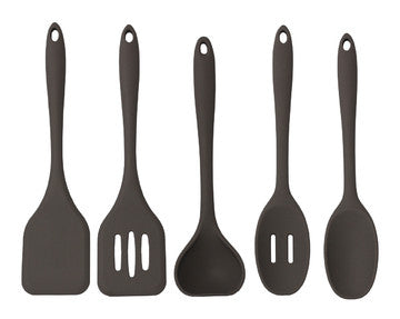 CoastLine Silicone Utensil Kitchen Set (5-Pack) | Includes Ladle, Serving Spoon, Slotted Spoon, Spatula & Slotted Spatula | Cooking Utensils are Dishwasher Safe | - Batch Coffee - Same Day Shipping!