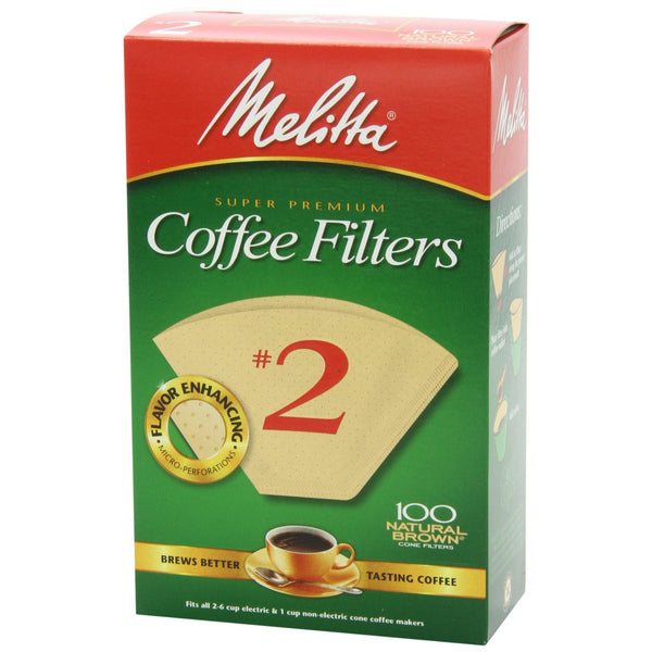 Melitta No 2 Cone Filter Natural Brown 100 Count - Batch Coffee - Same Day Shipping!