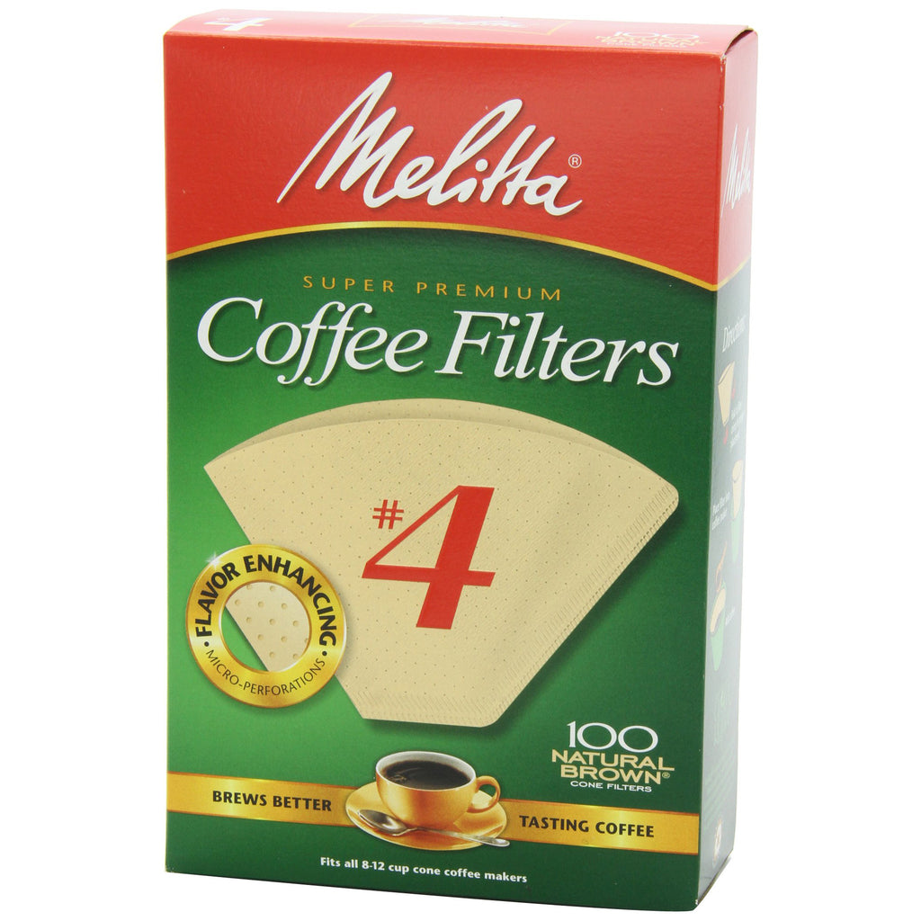 Melitta No 4 Cone Filter Natural Brown 100 Count - Batch Coffee - Same Day Shipping!
