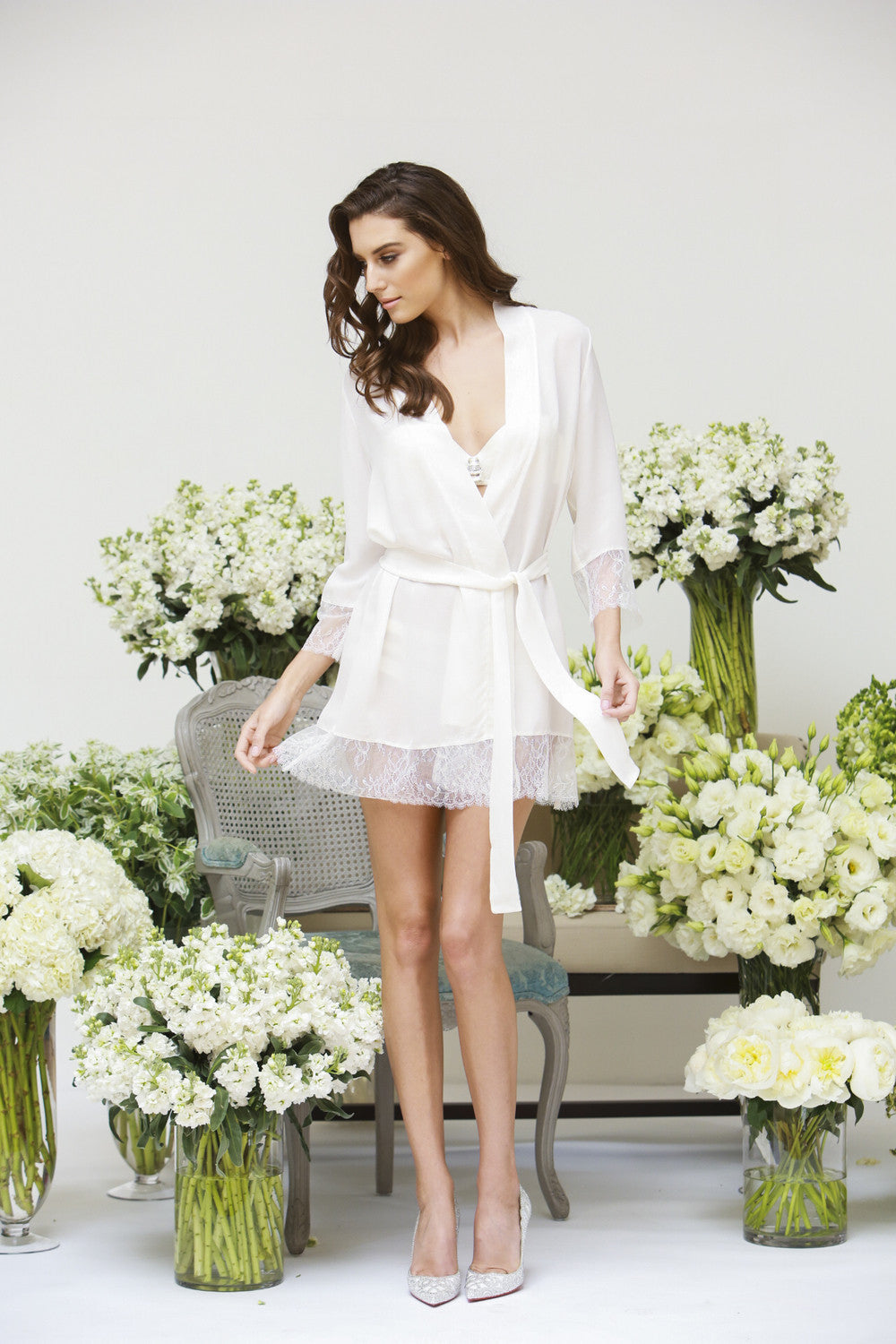 Luxurious Silk Georgette and Lace Robe