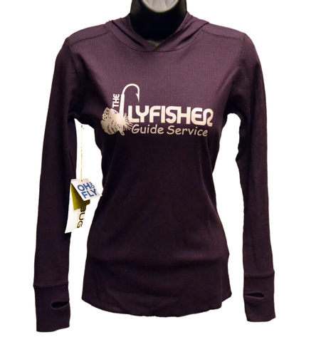 Hoodie - Women's Thermal Long Sleeve Tshirt (FGS) BLACKBERRY