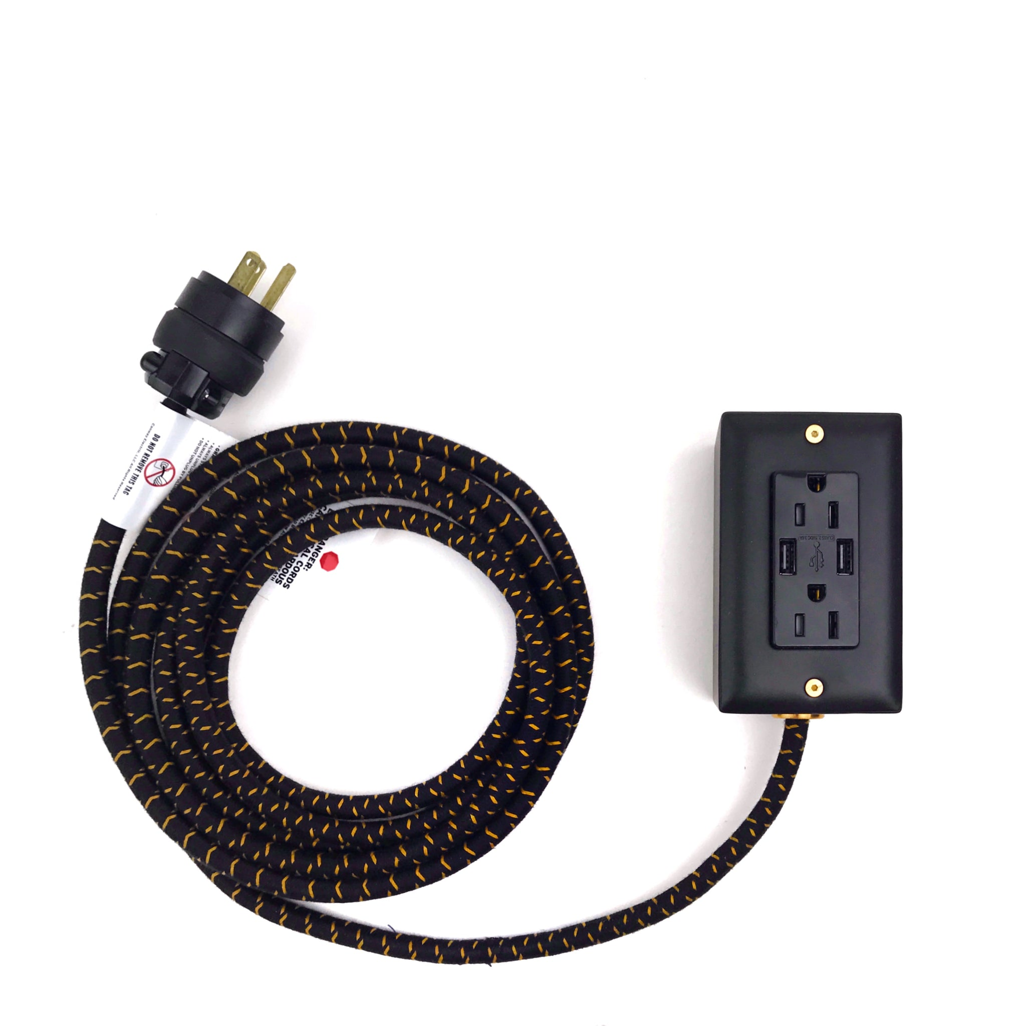 12' Extō Smart Chip Dual-USB, Dual-Outlet - Carrara Brass