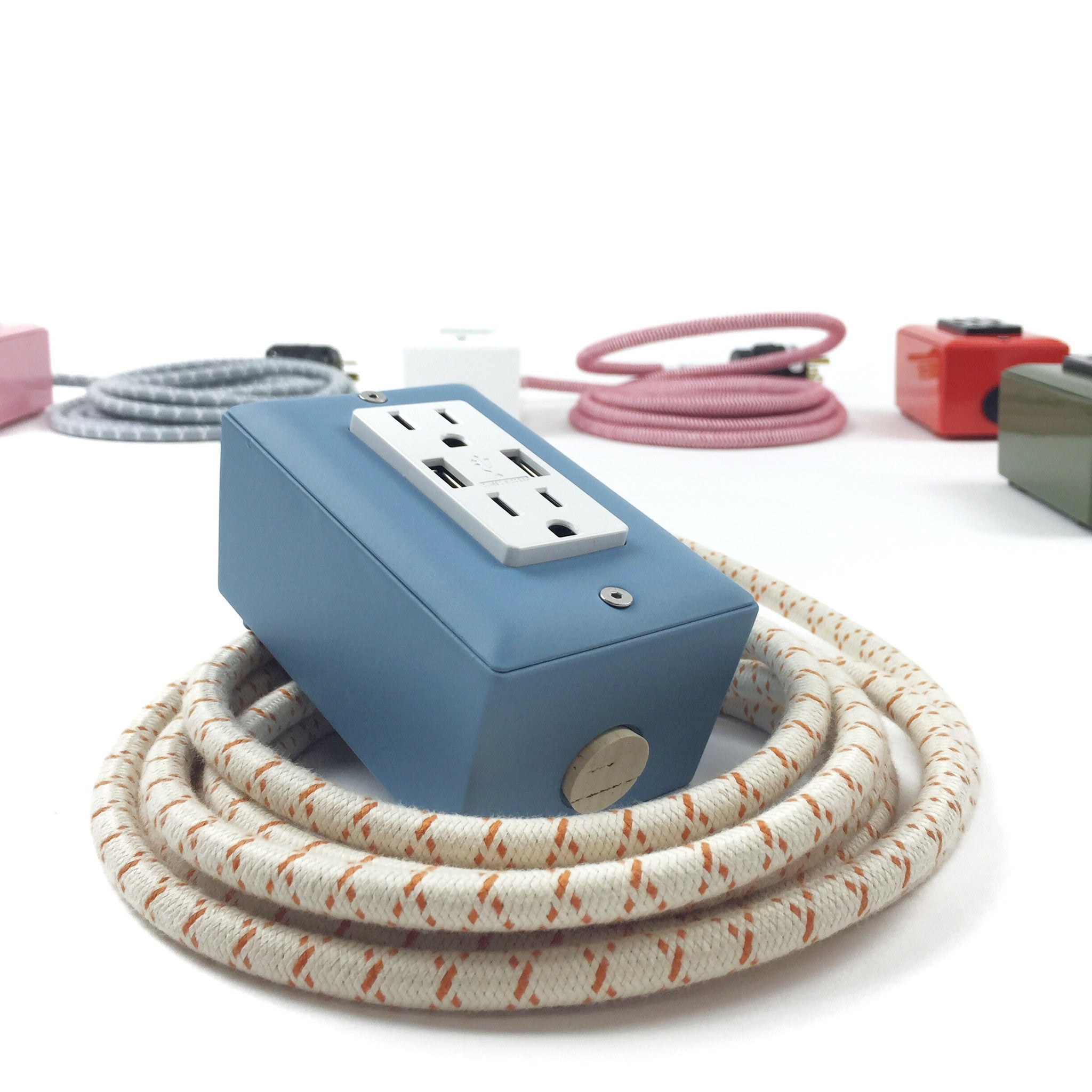 The First Smart Chip Extension Cord - 12' Extō Dual-USB, Dual-Outlet - Martha Blue