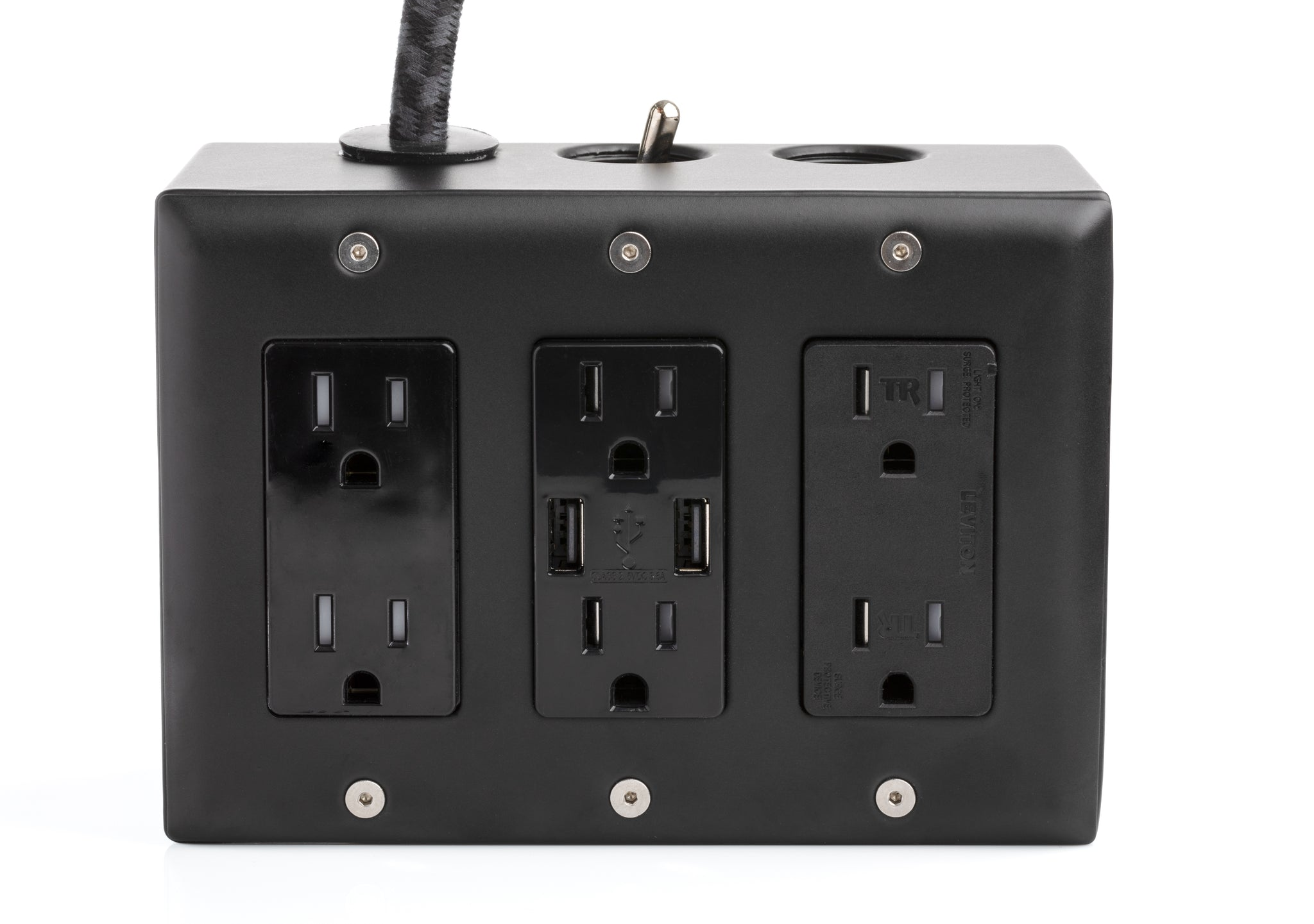 Carrara (Matte) Black 6Ft Extō Surge 720 Smart Chip USB Surge-Protected 6-Outlet Power Strip