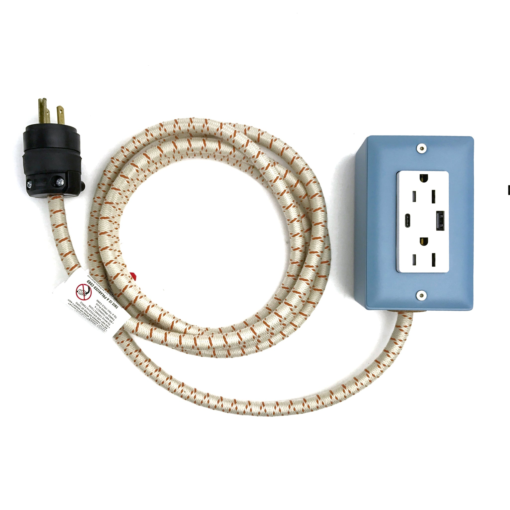 New! The First Smart Chip USB Type C® Extension Cord - 8' Extō Dual USB Port, Dual-Outlet Power Cord