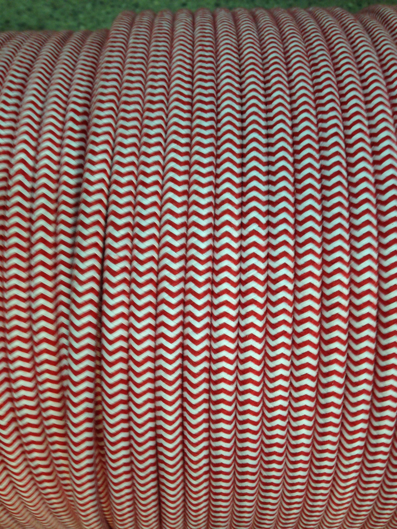 Red & White Nantucket Stripe UL LIsted 18-Gauge Cloth-Covered Round Pulley Cord $1/ft (300V AC max; Not for Use As Extension Cord)