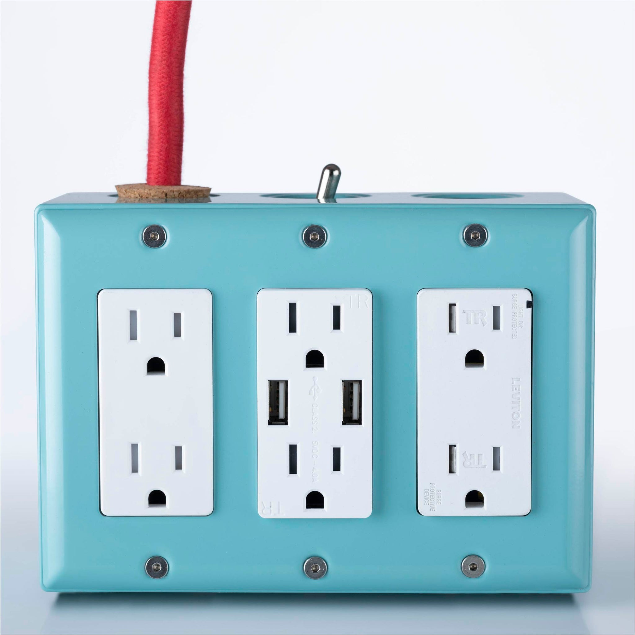 New! 6' Extō Surge 720 Smart Chip Surge-Protected Smart USB 6-Outlet Power Strip Mint