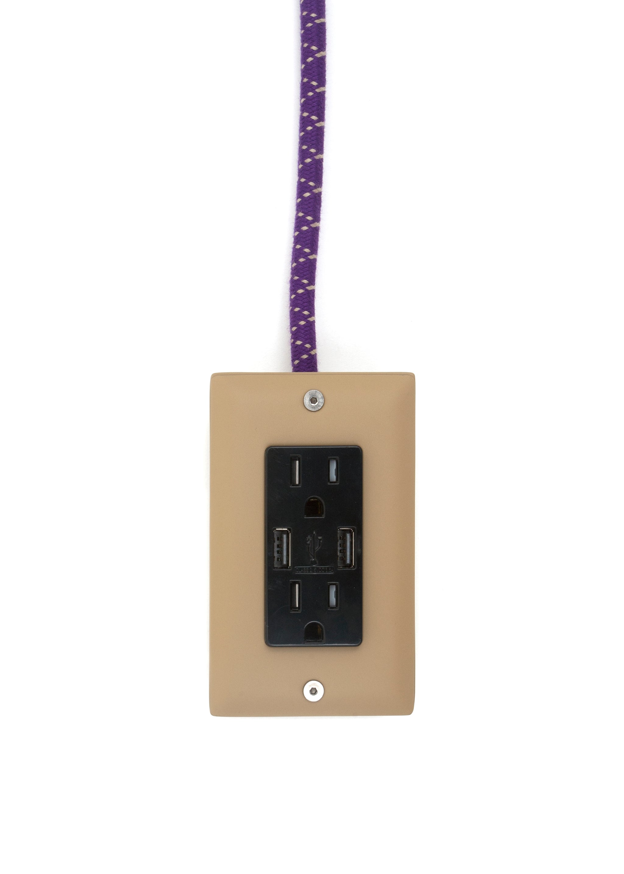 The First Smart Chip Extension Cord - 12' Extō Dual-USB, Dual-Outlet - Ouija Beige