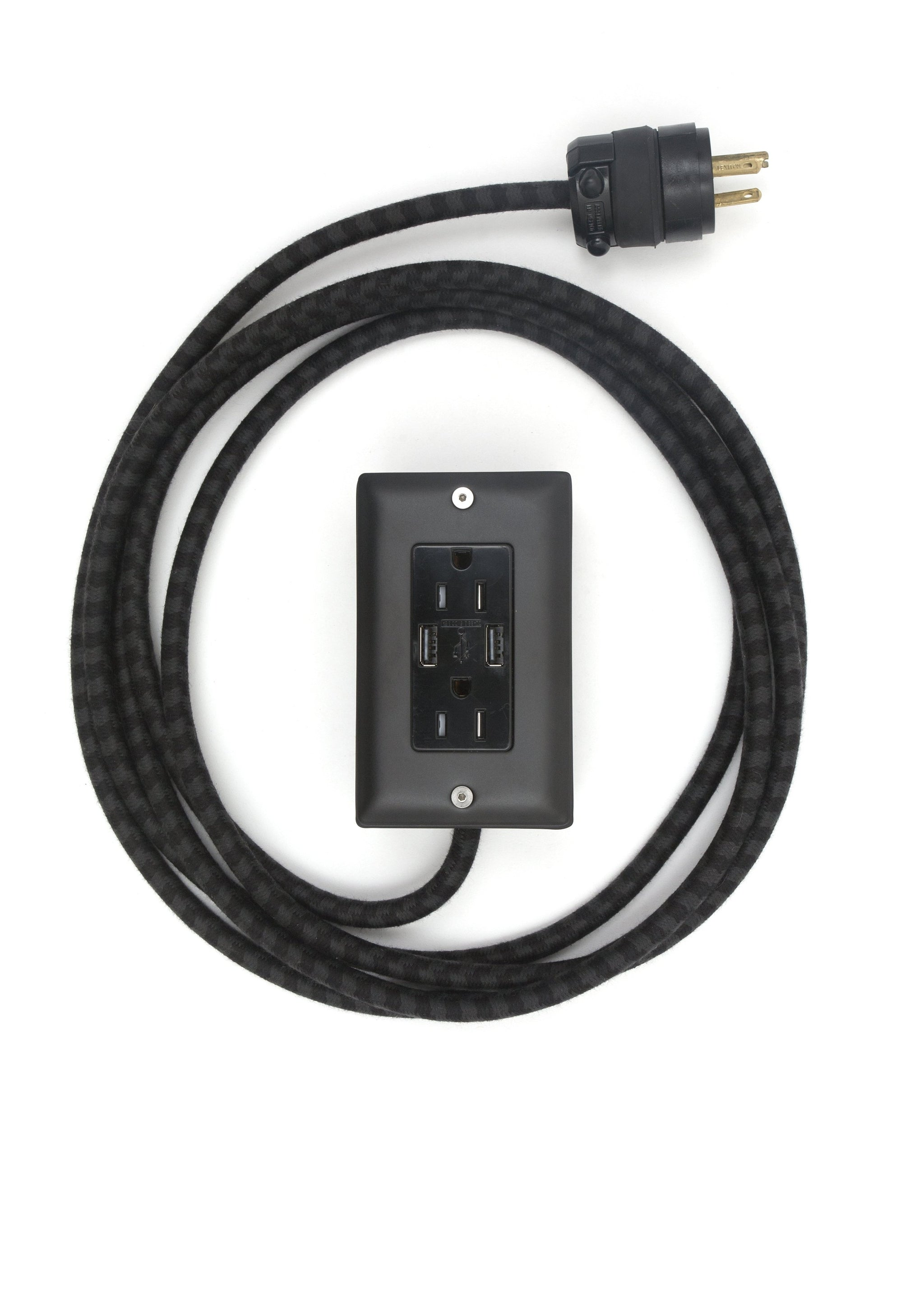 The First Smart Chip Extension Cord - 12' Extō Dual-USB, Dual-Outlet - Carrara (Matte) Black