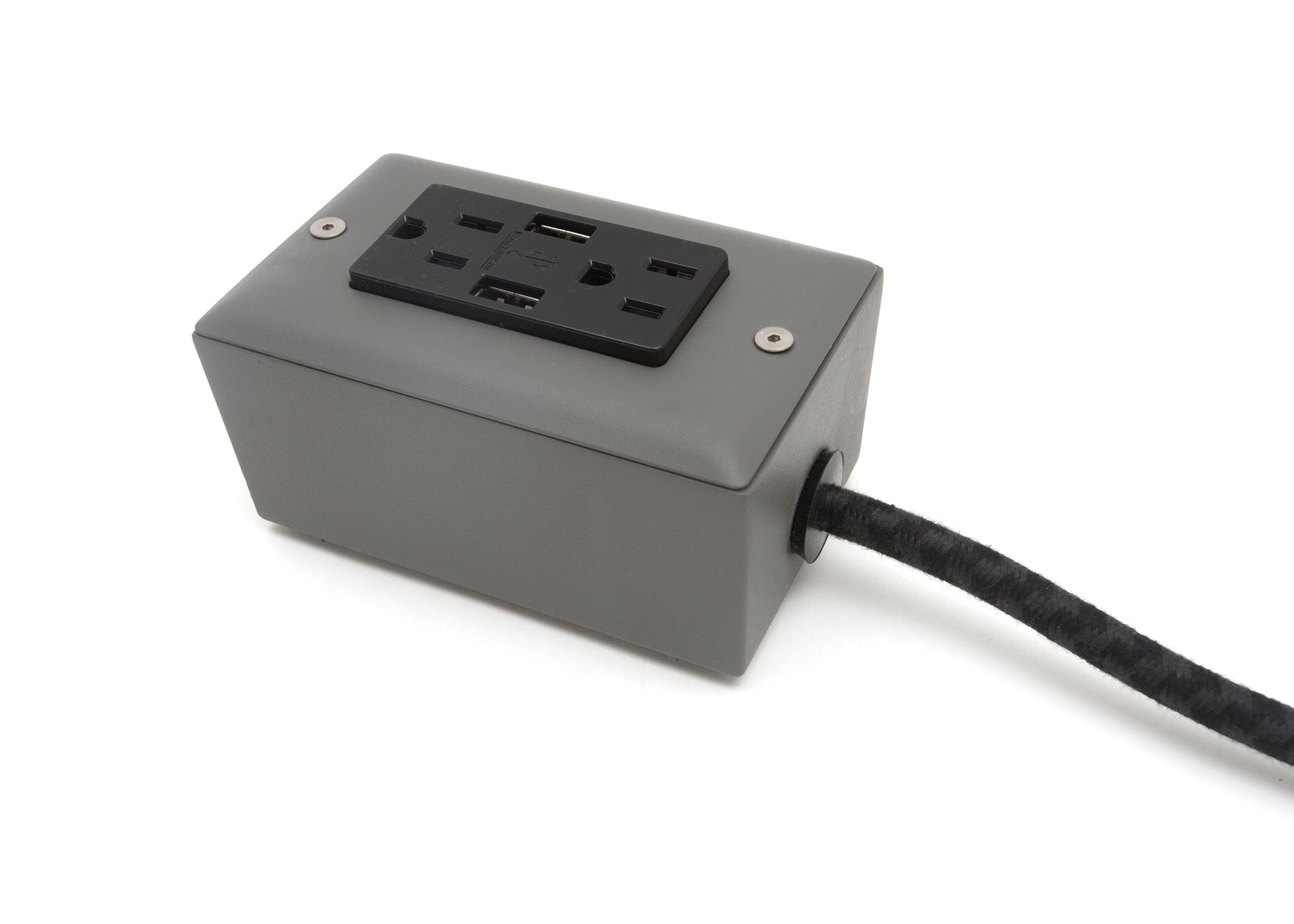 The First Smart Chip Extension Cord - 12' Extō Dual-USB, Dual-Outlet - Humboldt Fog Grey
