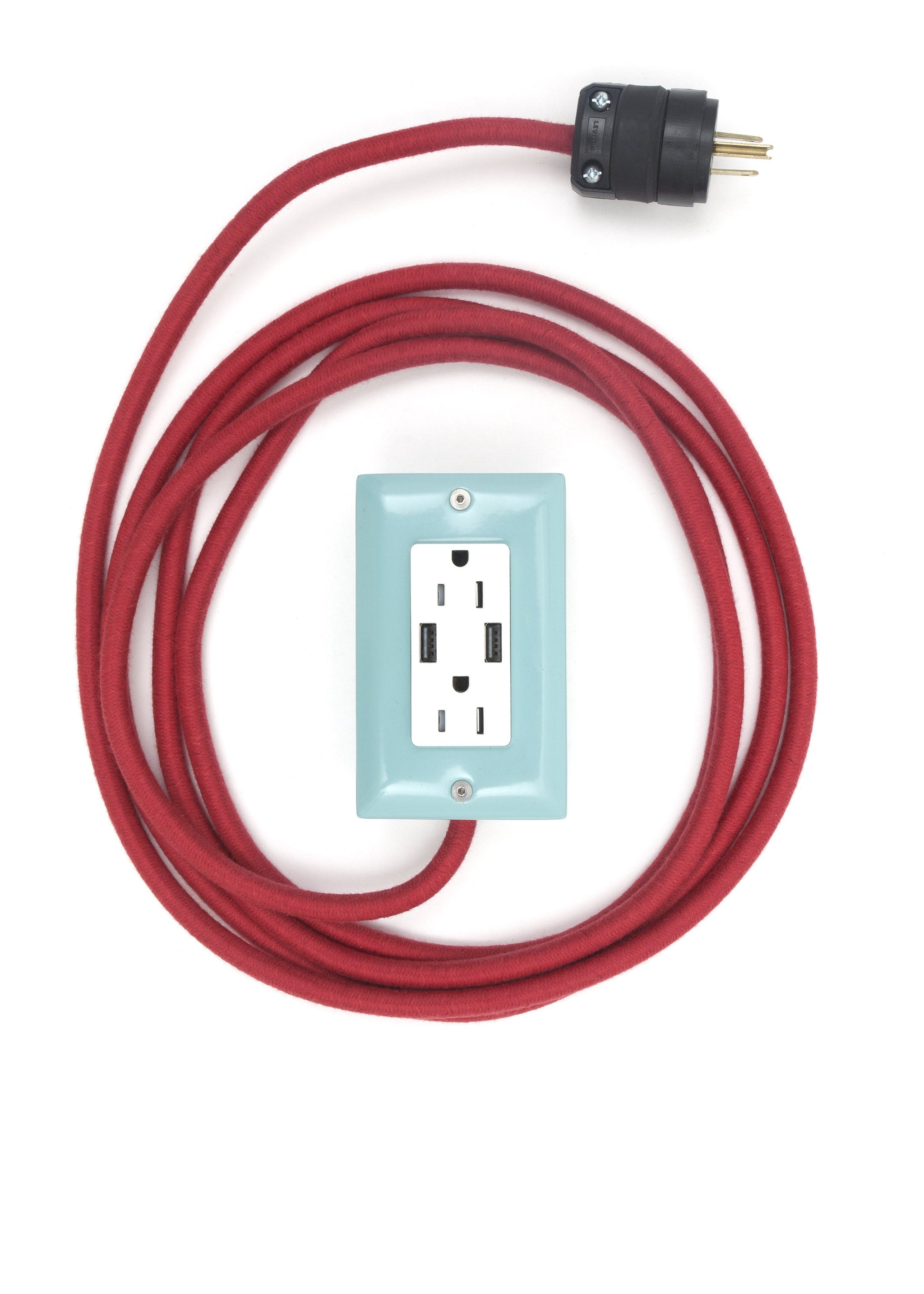 The First Smart Chip Extension Cord - 12' Extō Dual-USB, Dual-Outlet - Mint