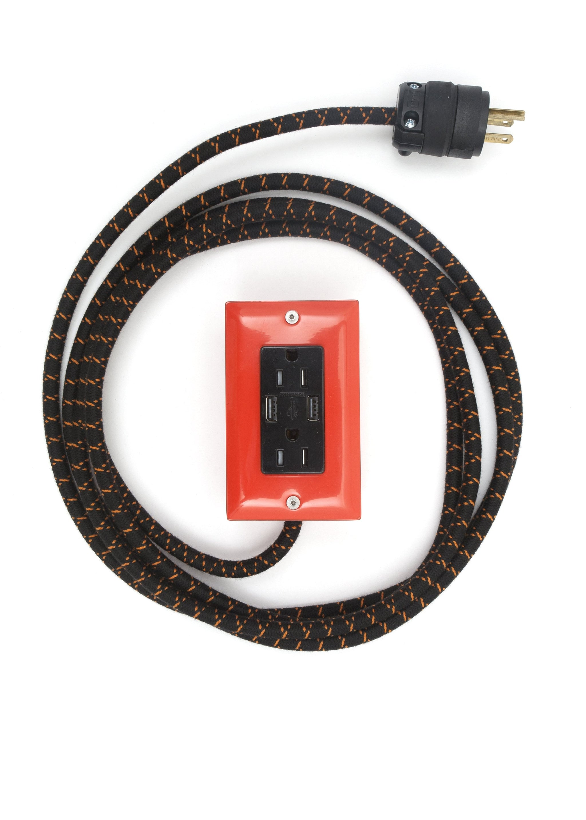 The First Smart Chip Extension Cord - 12' Extō Dual-USB, Dual-Outlet - Pumpkin Orange
