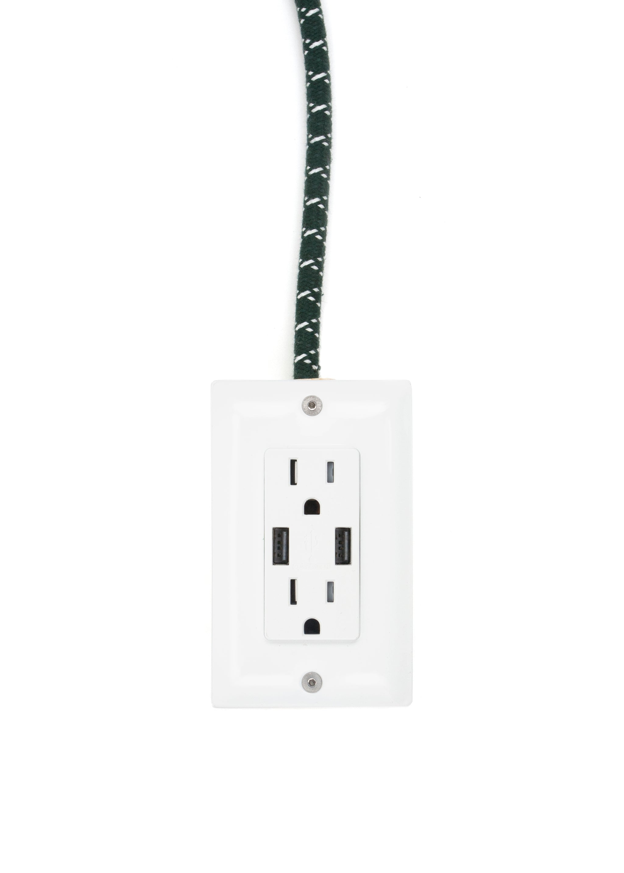 The First Smart Chip Extension Cord - 12' Extō Dual-USB, Dual-Outlet - Stuart Green