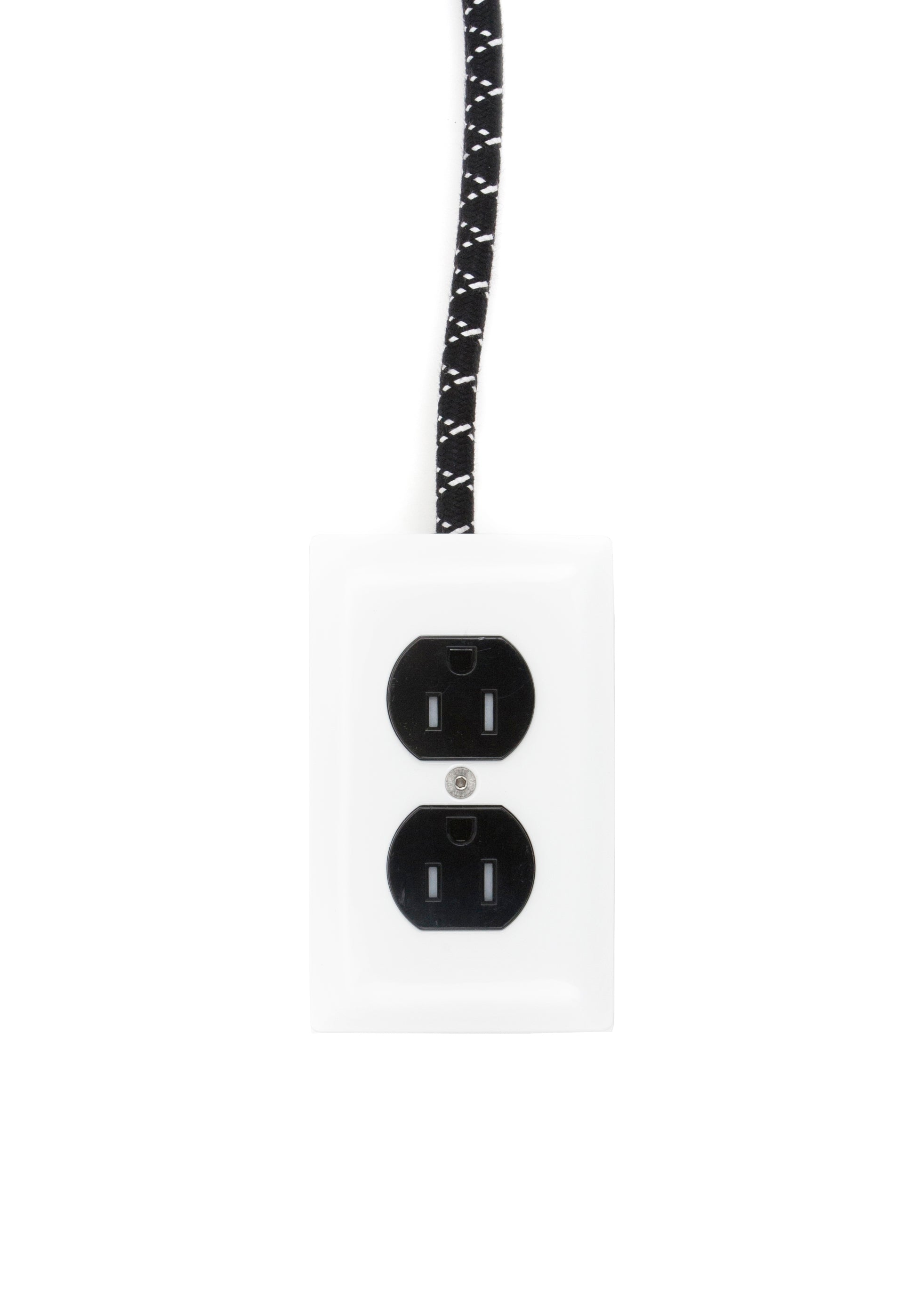 Extō AC/DC Black & White - A Modern Dual-Tamper-Resistant Outlet, 15-AMP Extension Cord