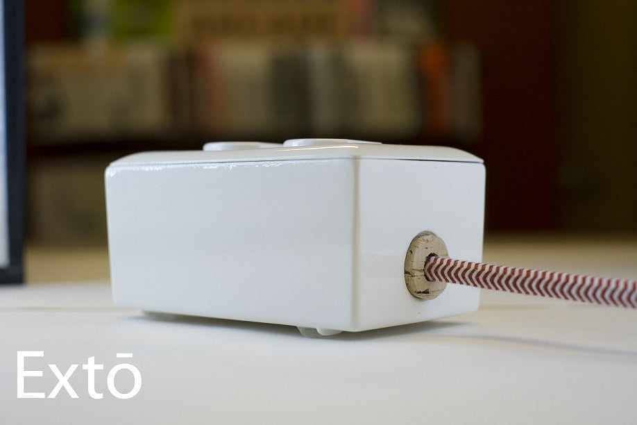 Extō Whitewash - A Modern Dual-Tamper-Resistant Outlet, 13-AMP Extension Cord