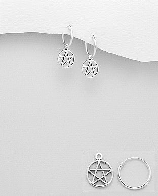 Pentacle Hoop Earrings