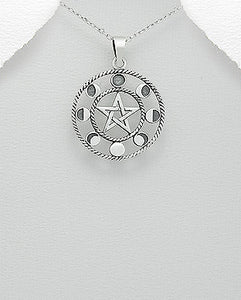 Sterling Silver Moon Phase Pentacle