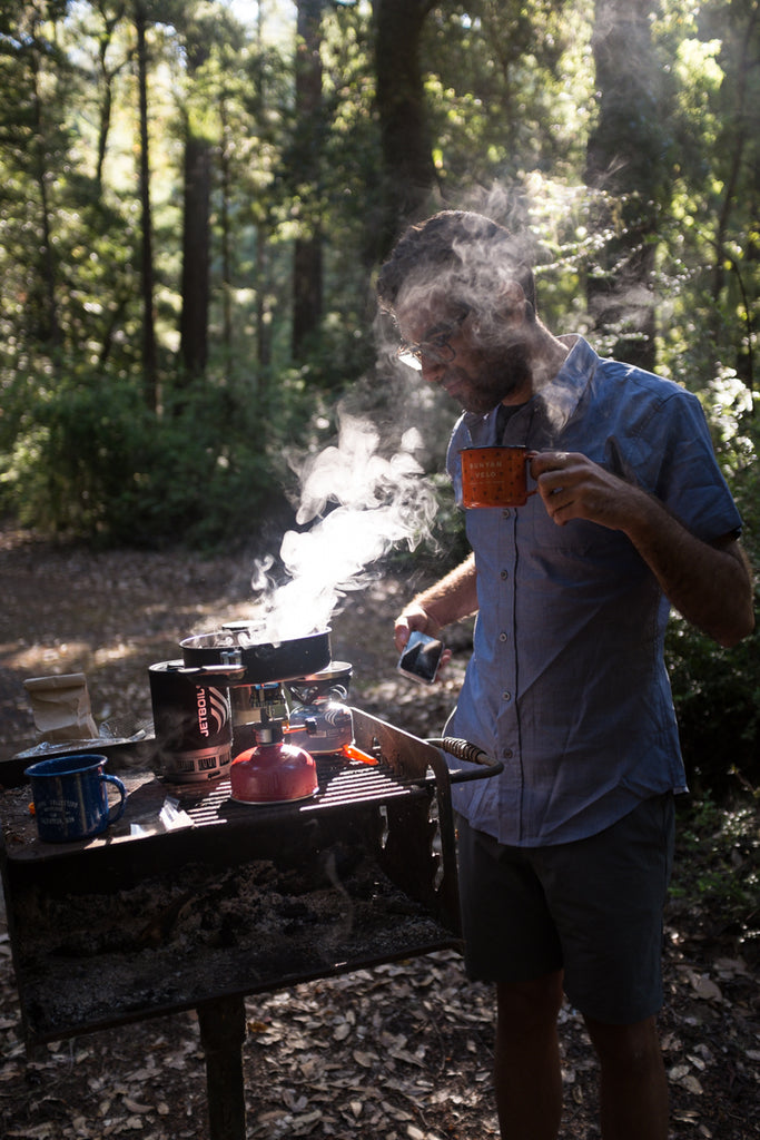 Camping coffee redwoods