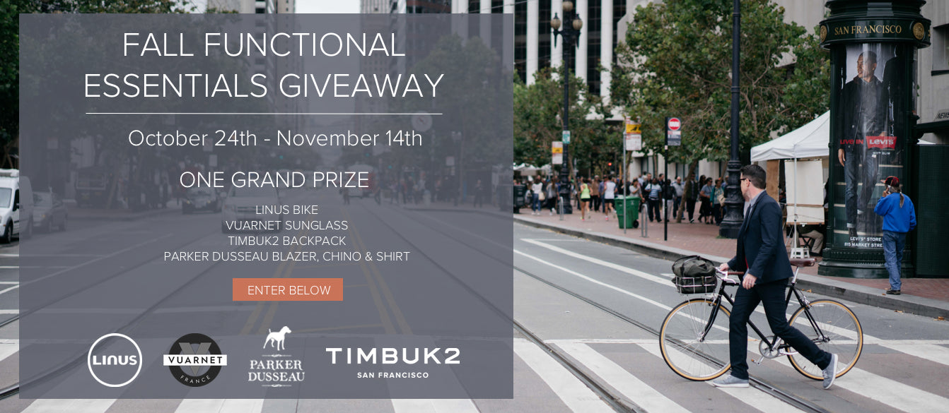Parker Dusseau Fall Functional Essentials Giveaway Linus Bikes Timbuk2 Vuarnet France Functional Essentials San Francisco Menswear