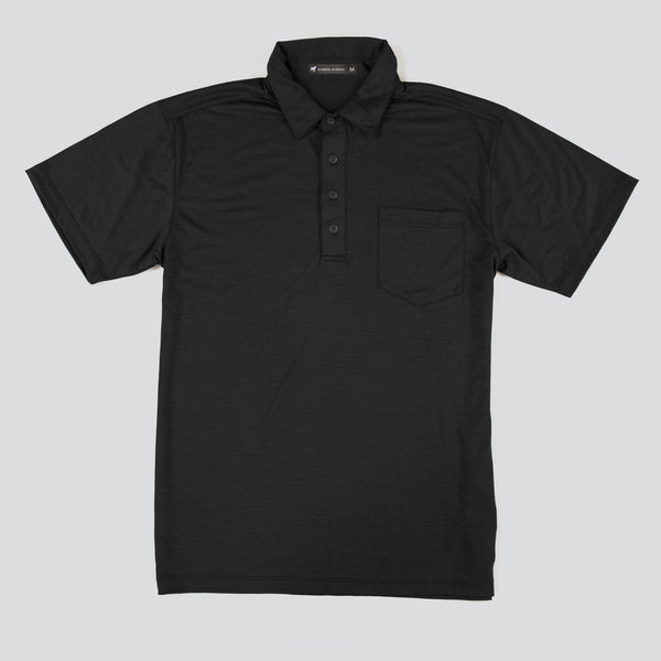 Merino Wool Short Sleeve Polo - Black