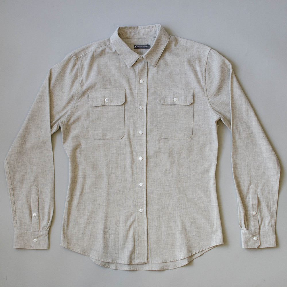 Japanese Organic Linen / Cotton Work Shirt - Sand Work Shirt- Parker Dusseau : Functional Menswear Essentials for the Always Ready Lifestyle. Based in San Francisco, California
