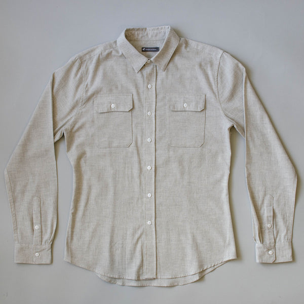 Japanese Organic Linen / Cotton Work Shirt - Sand