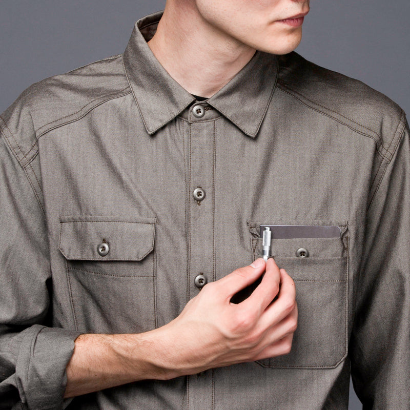 Glenbrook Merino Workshirt - Olive Chambray Work Shirt- Parker Dusseau : Functional Menswear Essentials for the Always Ready Lifestyle. Based in San Francisco, California