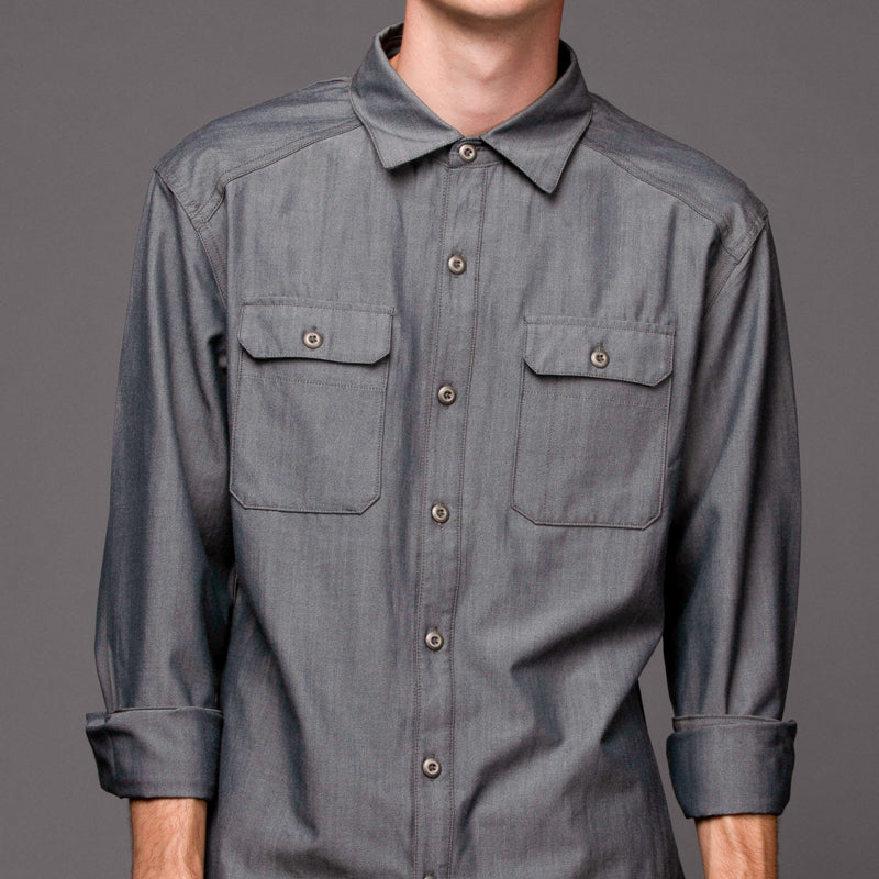 Glenbrook Merino Workshirt - Indigo Chambray Work Shirt- Parker Dusseau : Functional Menswear Essentials for the Always Ready Lifestyle. Based in San Francisco, California