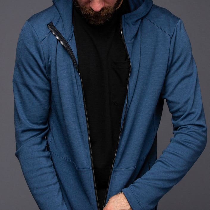 Hilary Merino Zip Hoodie - Moonlit Ocean Long Sleeve Merino Tee- Parker Dusseau : Functional Menswear Essentials for the Always Ready Lifestyle. Based in San Francisco, California