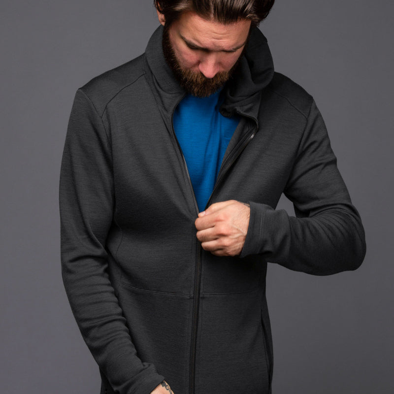 Hilary Merino Zip Hoodie - Phantom Long Sleeve Merino Tee- Parker Dusseau : Functional Menswear Essentials for the Always Ready Lifestyle. Based in San Francisco, California