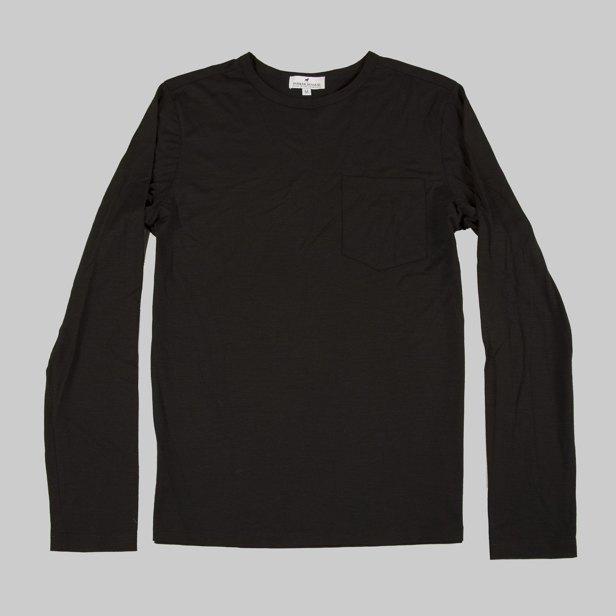 100% Merino Wool Long Sleeve Tee - Black Long Sleeve Merino Tee- Parker Dusseau : Functional Menswear Essentials for the Always Ready Lifestyle. Based in San Francisco, California