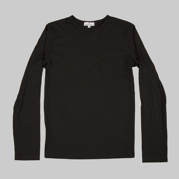 100% Merino Wool Long Sleeve Tee - Black