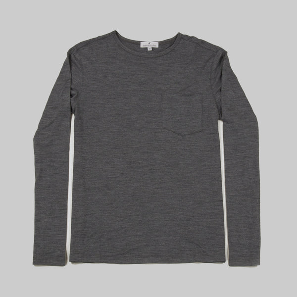 100% Merino Wool Long Sleeve Tee Shirt - Platinum