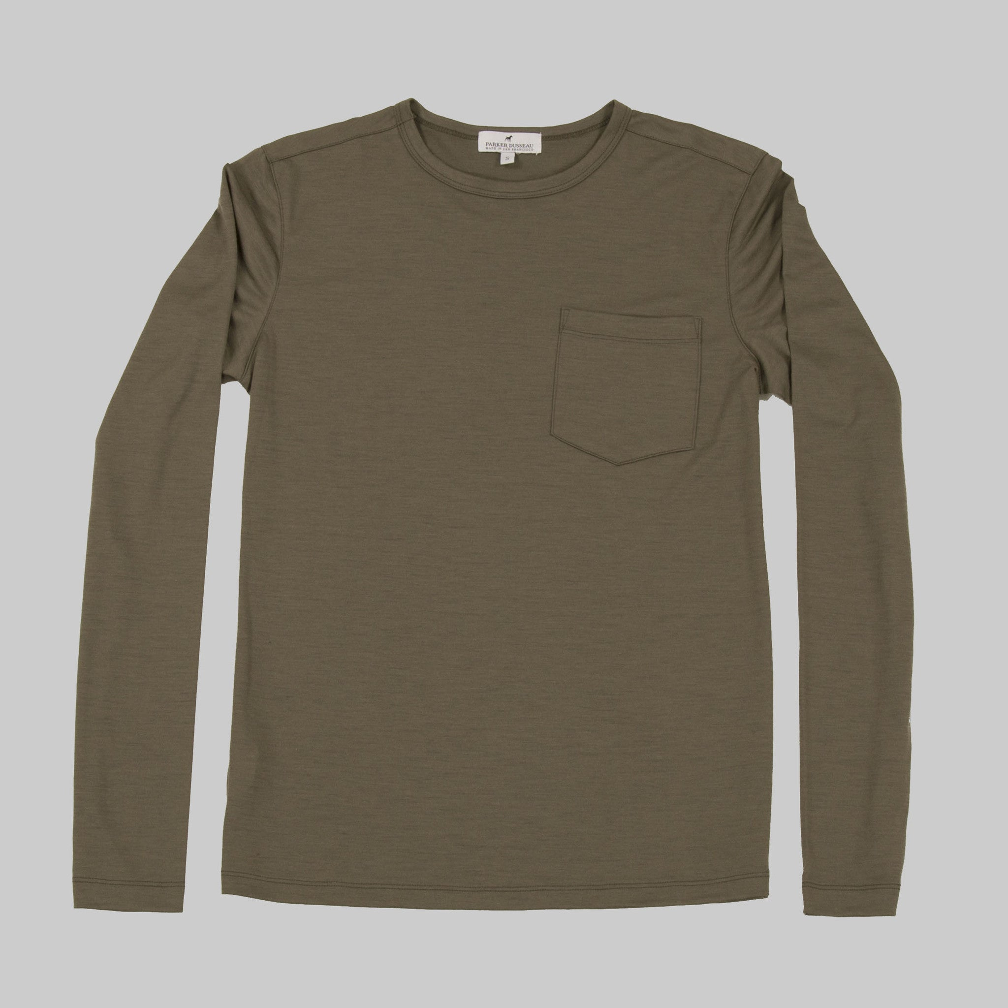 100% Merino Wool Long Sleeve Tee - Army Long Sleeve Merino Tee- Parker Dusseau : Functional Menswear Essentials for the Always Ready Lifestyle. Based in San Francisco, California