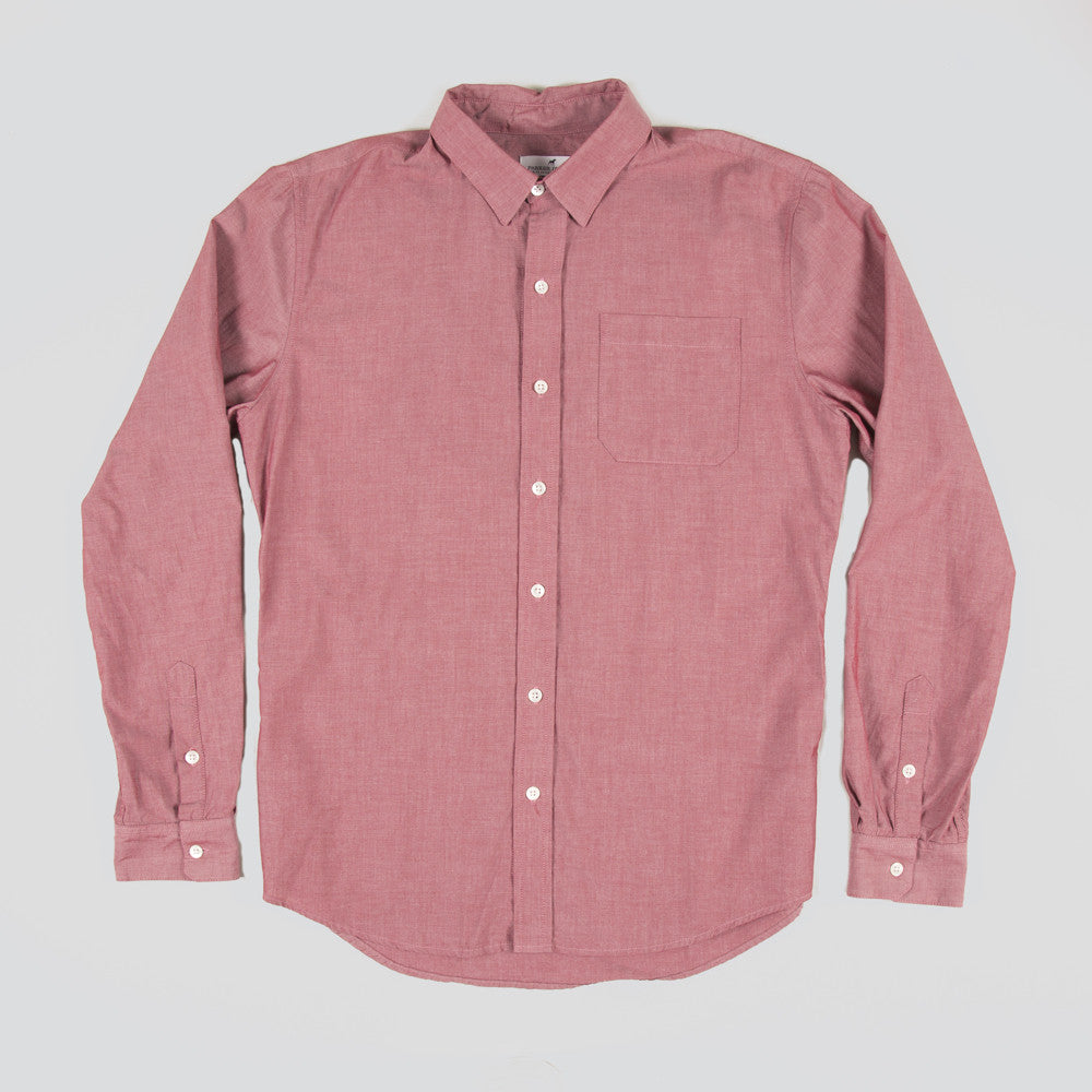 Five Day Wool / Cotton Button Up - Ox Blood
