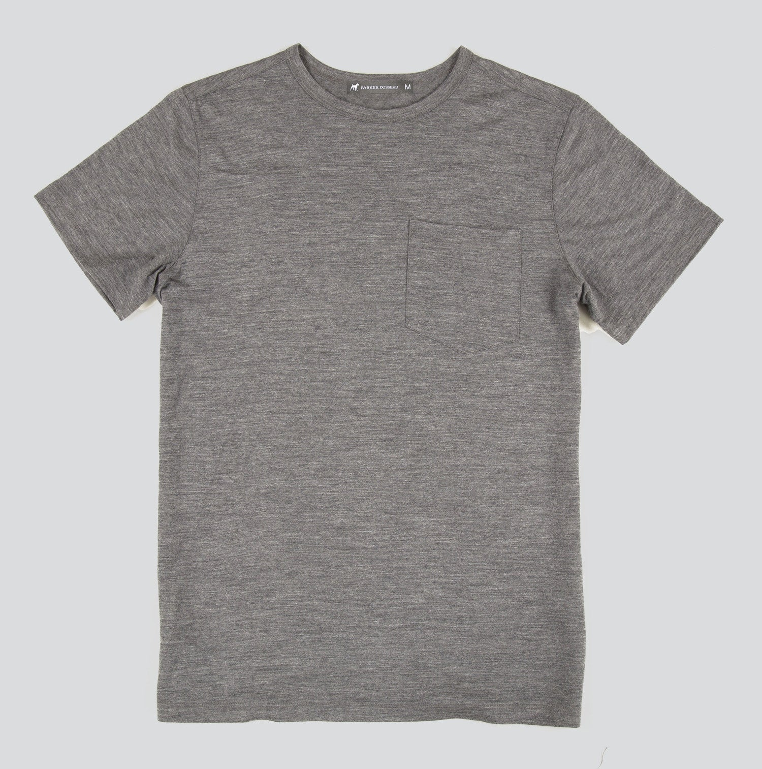 Merino Wool Single Pocket Tee - Titanium Short Sleeve Merino Tee- Parker Dusseau : Functional Menswear Essentials for the Always Ready Lifestyle. Based in San Francisco, California