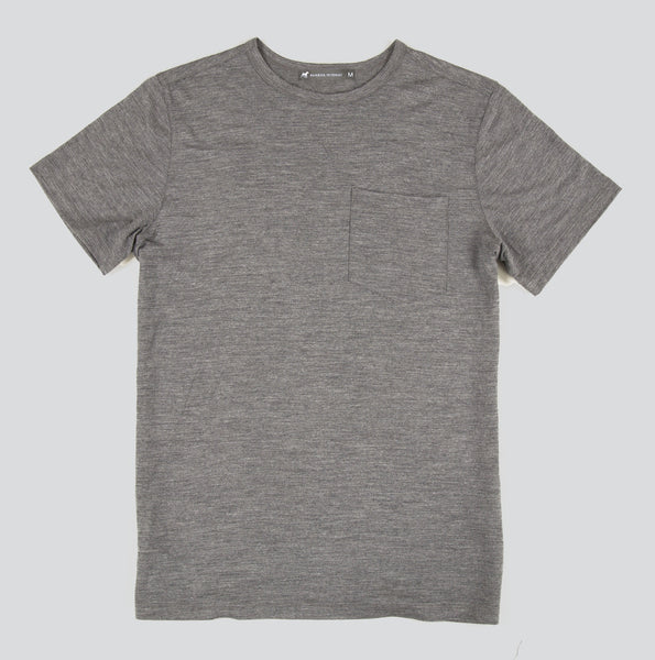 Merino Wool Single Pocket Tee - Titanium