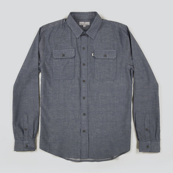 Lightweight Stretch Cotton Classic Work Shirt - Indigo Fleck