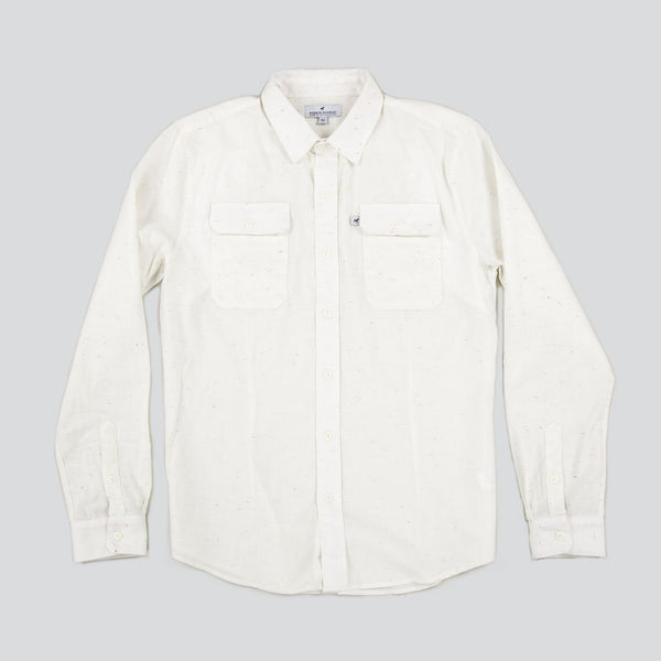 Lightweight Stretch Cotton Classic Work Shirt - Ivory Fleck
