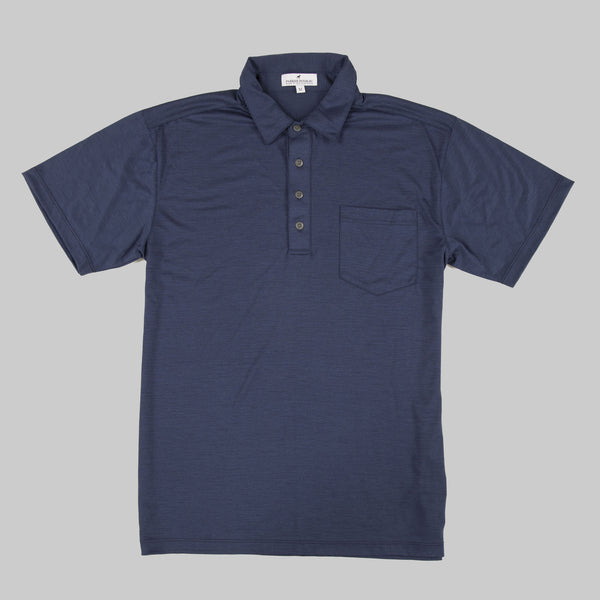 Merino Wool Short Sleeve Polo Shirt - Navy