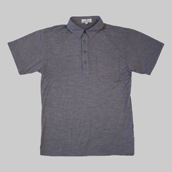 Merino Wool Short Sleeve Polo Shirt - Platinum