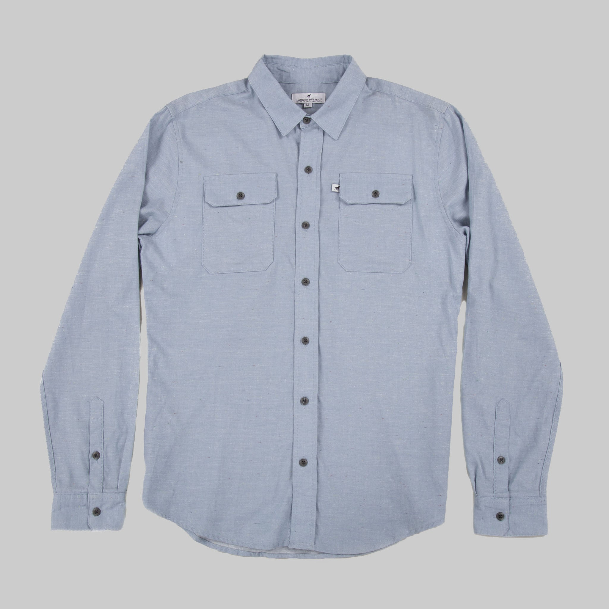 Lightweight Cotton Classic Work Shirt - Sky Blue Fleck Work Shirt- Parker Dusseau : Functional Menswear Essentials for the Always Ready Lifestyle. Based in San Francisco, California