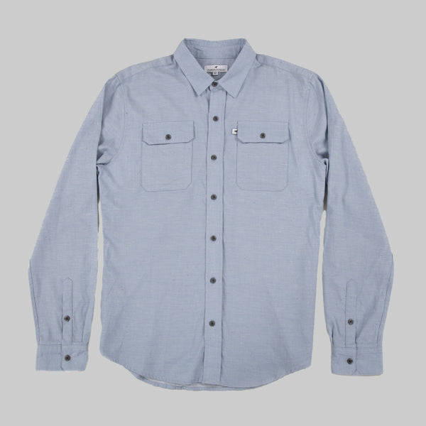 Lightweight Cotton Classic Work Shirt - Sky Blue Fleck