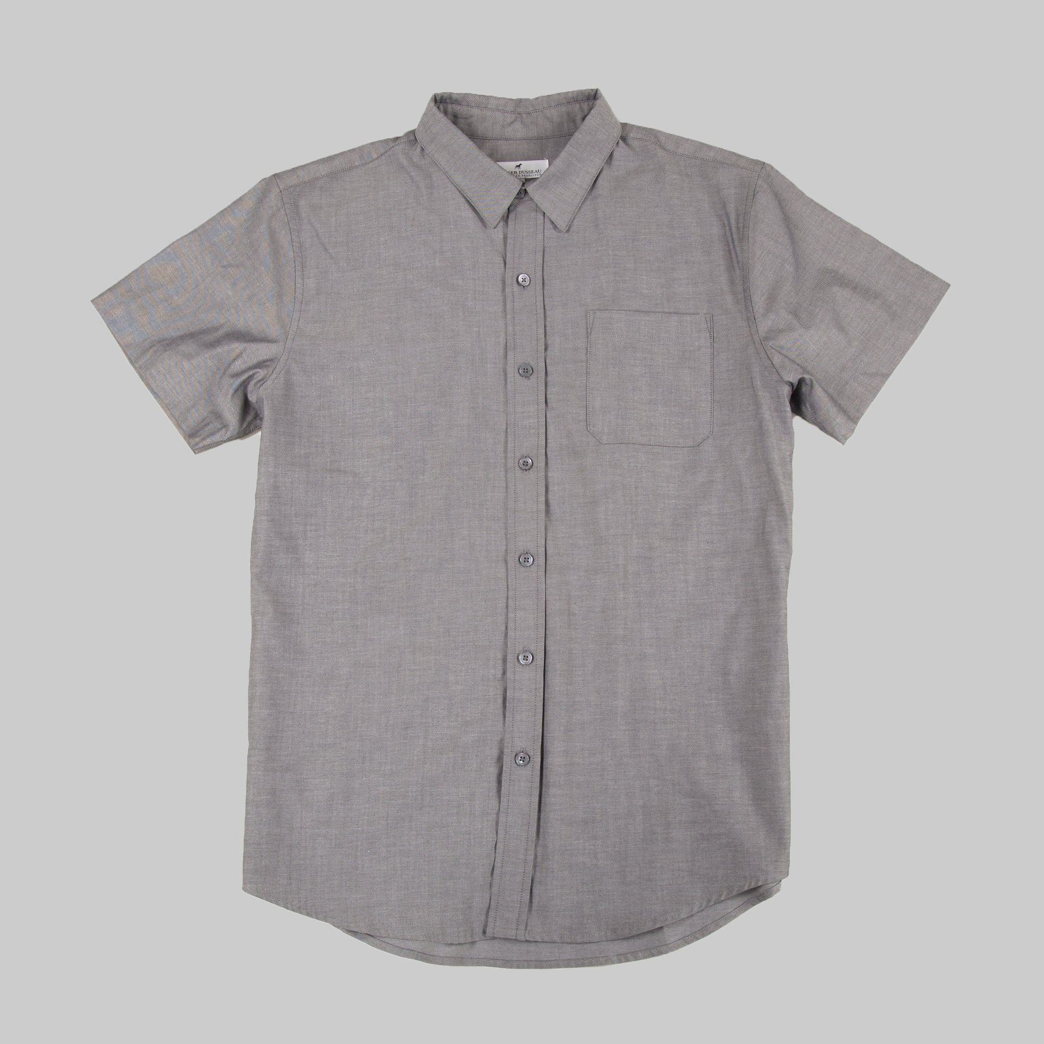 Five Day Wool / Cotton Button Up - Charcoal Dress Shirt, Short Sleeve- Parker Dusseau : Functional Menswear Essentials for the Always Ready Lifestyle. Based in San Francisco, California